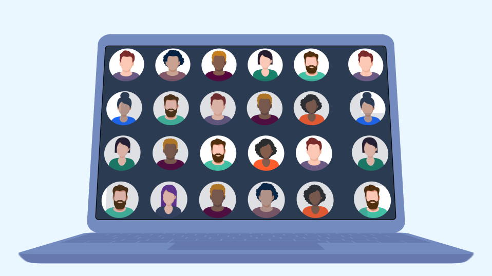 Illustration of a laptop screen with a grid of candidate avatars