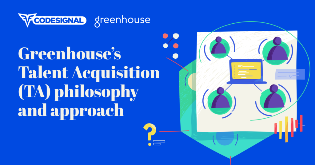 """White text on blue background, """"Greenhouse's Talent Acquisition (TA) philosophy and approach"""" with abstract image of figures around a computer on the right"""